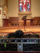 recording equipment with chapel background